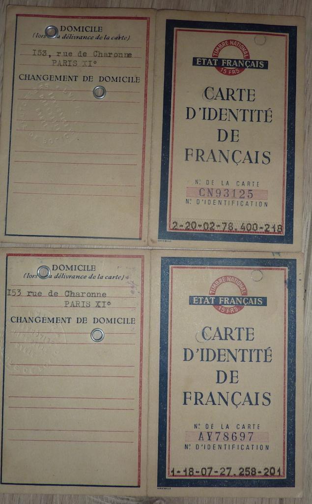 petit lot de papiers et cartes d'identité époque Vichy, CJF P1060138