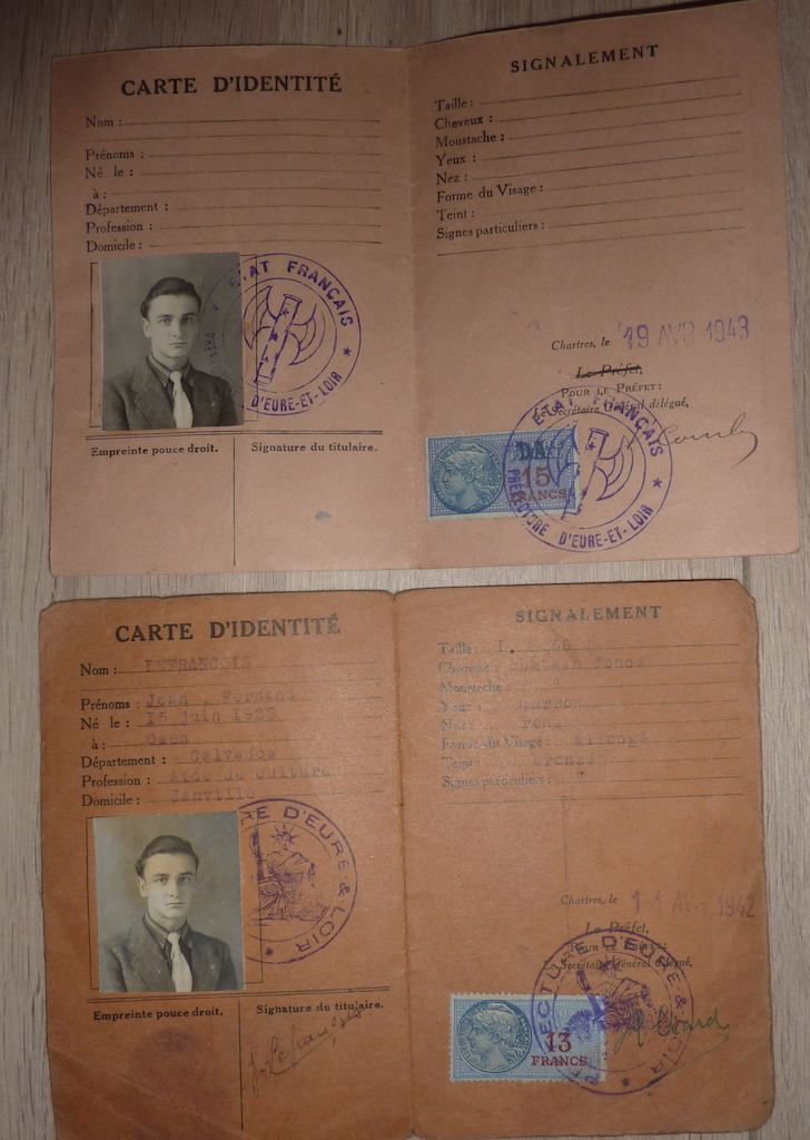 petit lot de papiers et cartes d'identité époque Vichy, CJF P1060139