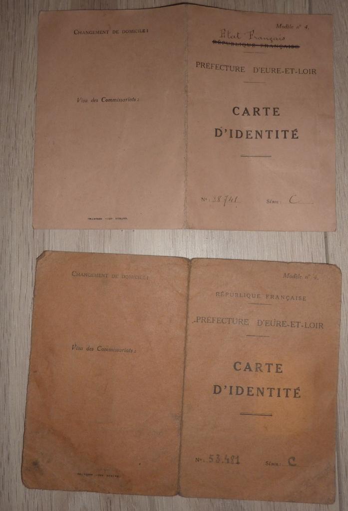 petit lot de papiers et cartes d'identité époque Vichy, CJF P1060141