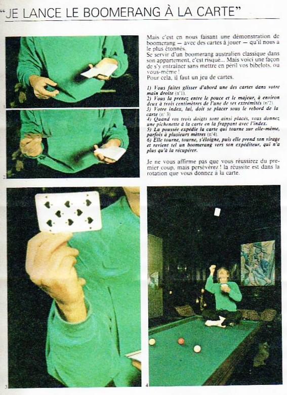 """Christophe """" je lance le boomerang à la carte"""" Tiré de : les paris de TF1 1981. Mail0011"""