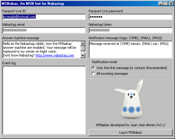 MSNabaz 0.1 released (MSN bot for Nabaztag) Screen10