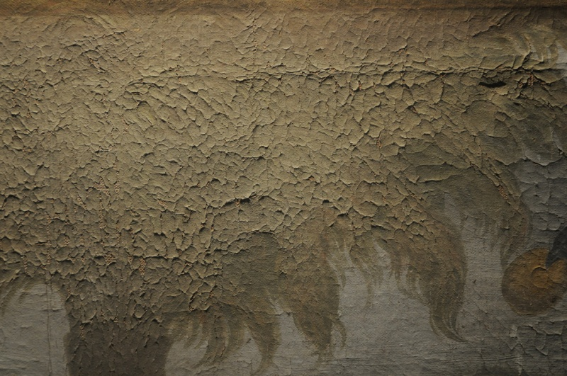 Montage d'une toile sur un bâti provisoire . Bords de tensions peints. Dsc_8210