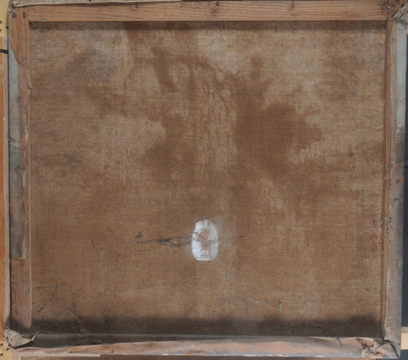 Montage d'une toile sur un bâti provisoire . Bords de tensions peints. Dsc_8211