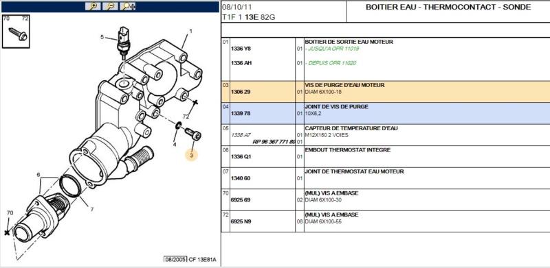 Vis purge boitier thermostatique moteur 1,4 L TU 8 soupapes Purge110
