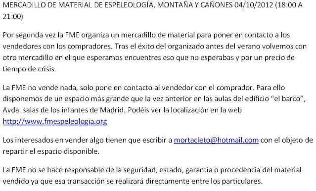 MERCADILLO DE MATERIAL DE ESPELEOLOGÍA Y MONTAÑA Mercad10