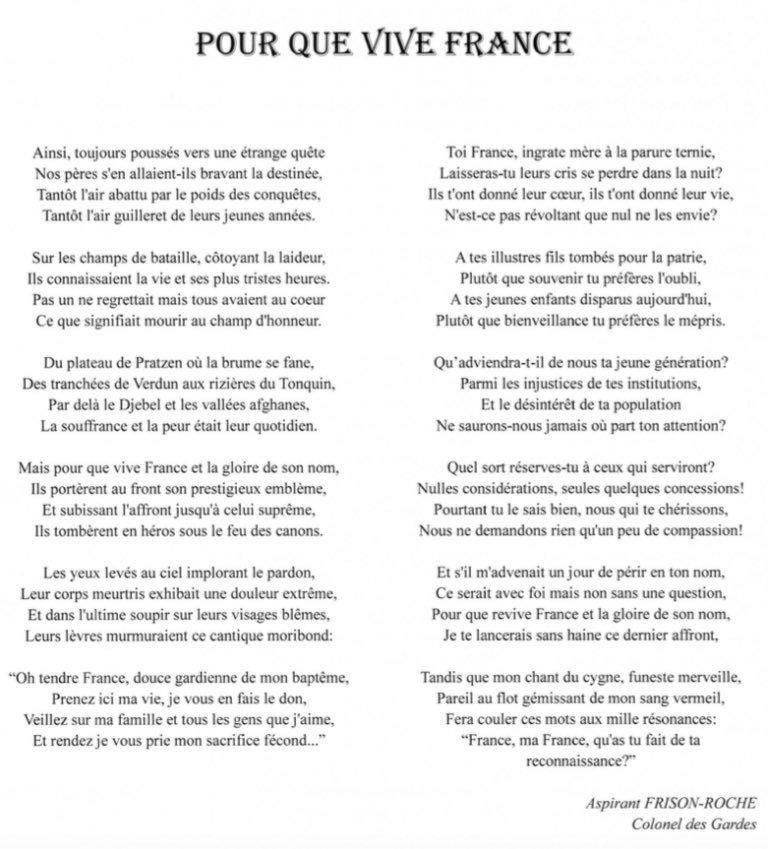 Le poème de Clément Frison-Roche sur la mort pour la France. Il est décédé la semaine passée au Mali. Ekulqr10