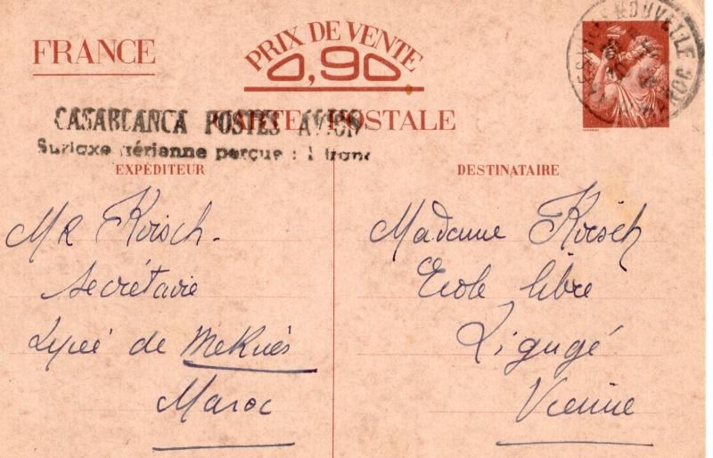 Utilisation des entiers Iris et Pétain et cartes interzones hors de France 1941_i10