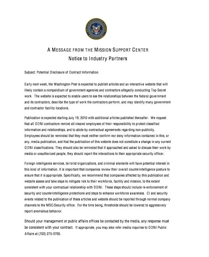Leaked letter from DNI warns about leaks Odni10