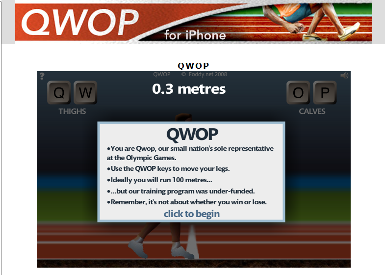 QWOP - the imposible game of skills Qwop10