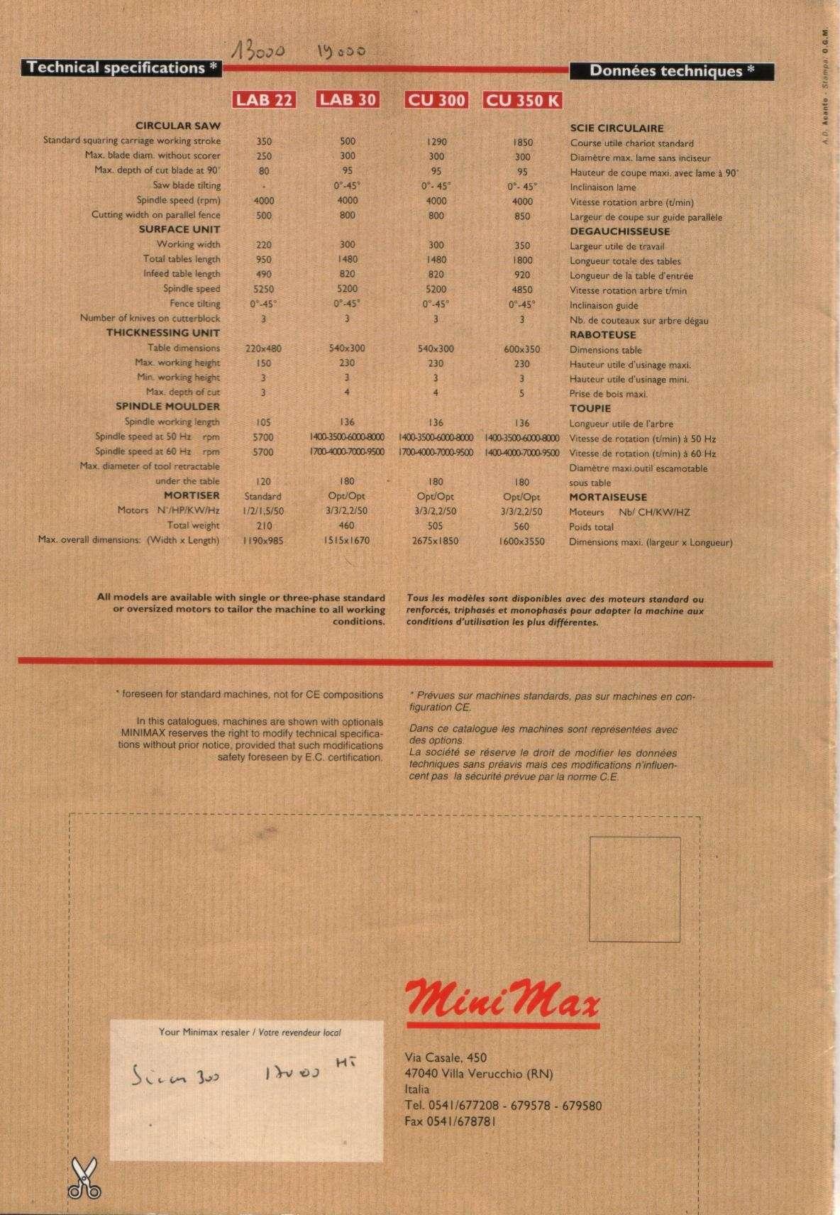 Minimax LAB 22 & 30 + CU 300 & 350 Compar10