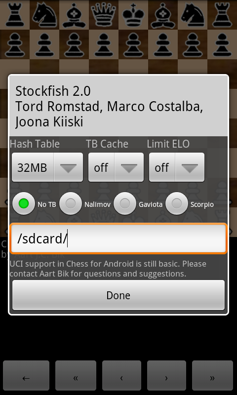 Chess for Android 2.5 Uci311