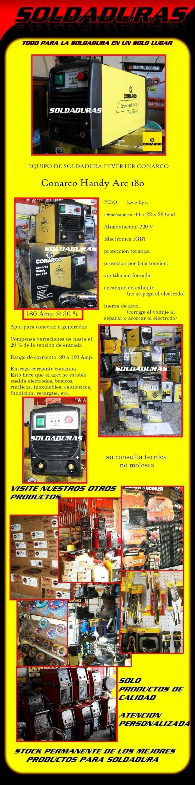 INVERTER HANDY ARC 180 DE CONARCO Handy210