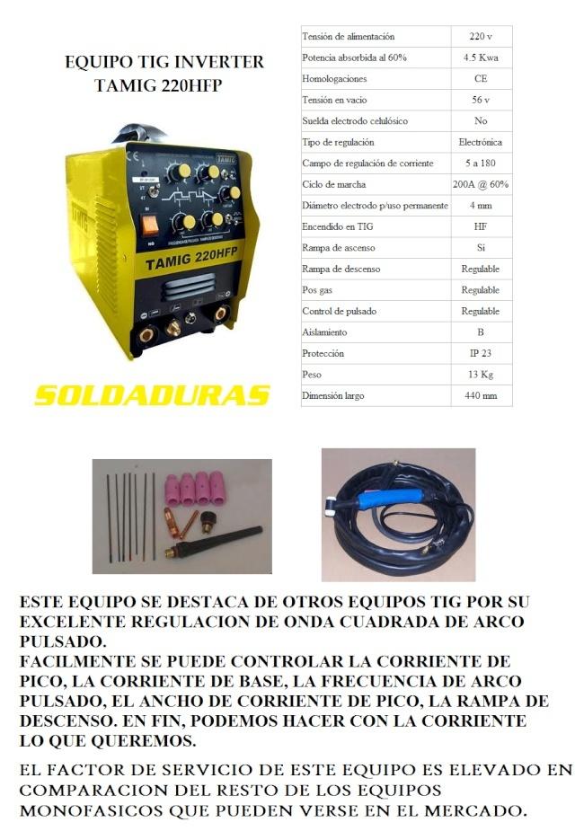 EQUIPO TIG TAMIG 220 HFP Tamig_10