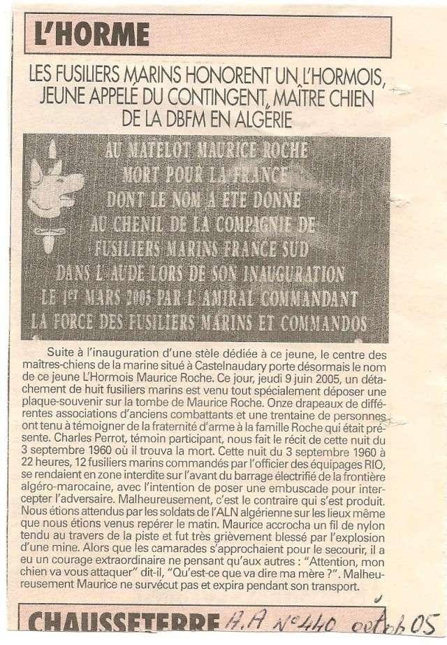 Photos de l'Hommage à Maurice ROCHE fusilier-marin /maître-chien,tombé la nuit du 3 septembre 1960. Xx_2_a10