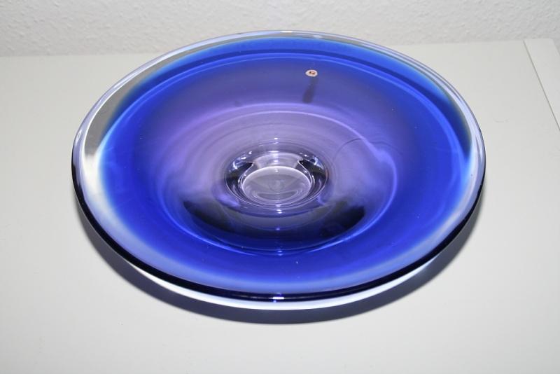 Blue glasbowl and bottlevase czech, bohemian? Murano11