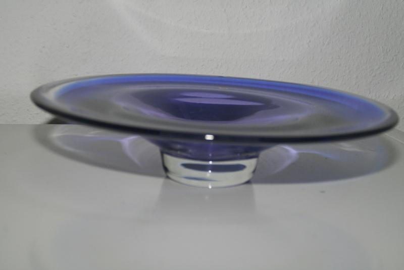 Blue glasbowl and bottlevase czech, bohemian? Murano12