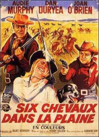 Six chevaux dans la plaine- Six black horses- 1962 - Harry Keller. En109810