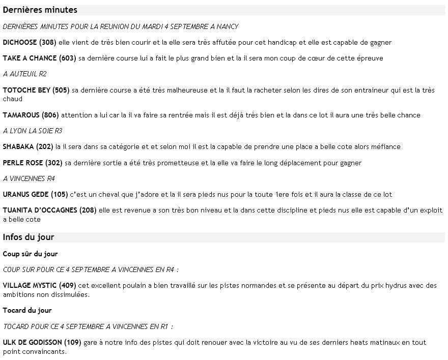 ICI ...Pas de TUYAUX Mais DES INFOS ENTRAINEMENTS ET PRONOS JOURNAUX - Page 14 Dm4sep10