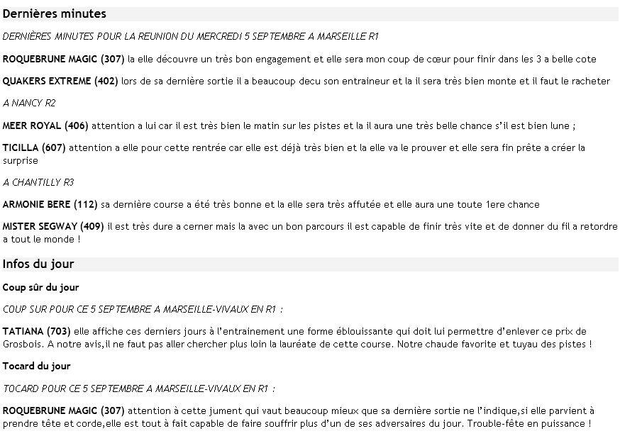 ICI ...Pas de TUYAUX Mais DES INFOS ENTRAINEMENTS ET PRONOS JOURNAUX - Page 14 Dm5sep10