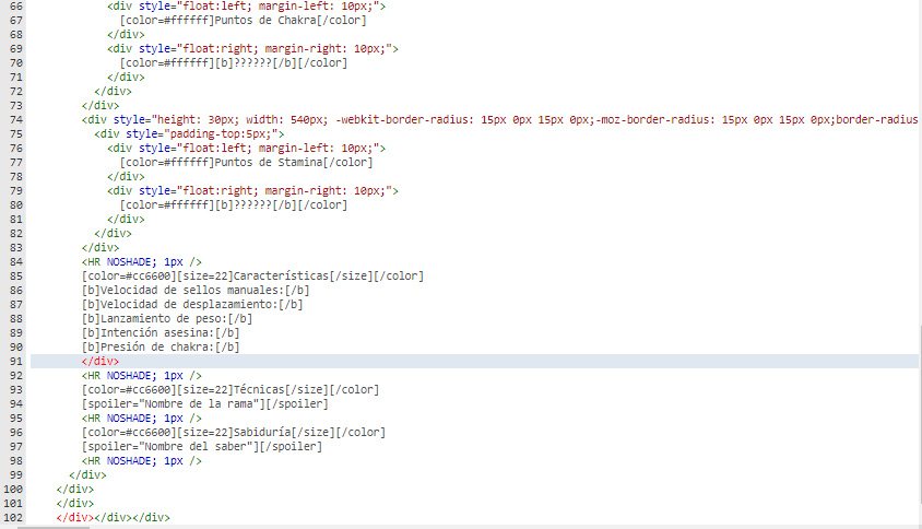 Uso un código html al publicar mensaje que rompe la estructura del foro. Sin_tz10