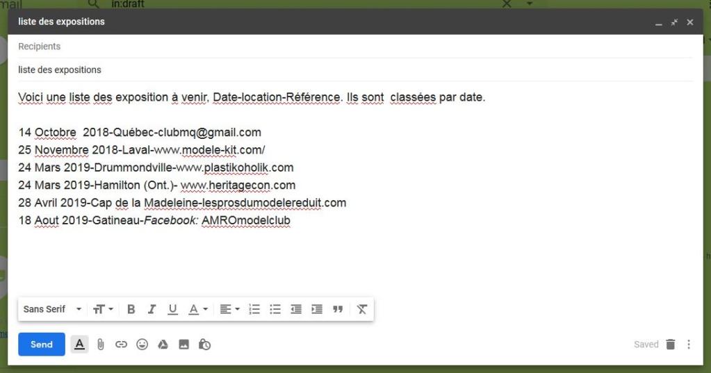 """Liste de courriel """"mailing list"""" Pour les expositions List_d10"""