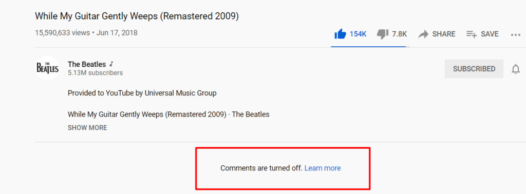 YouTube - All Bands' Songs From Band's Verified Channel, Comments Blocked Screen48