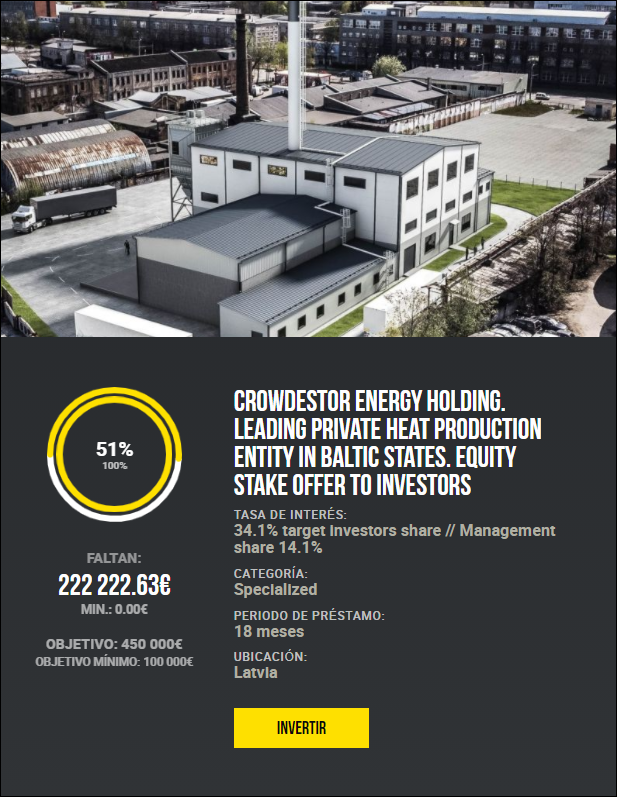 CROWDESTOR Energy Holding. Leading private heat production entity in Baltic states. Equity stake offer to investors 11042