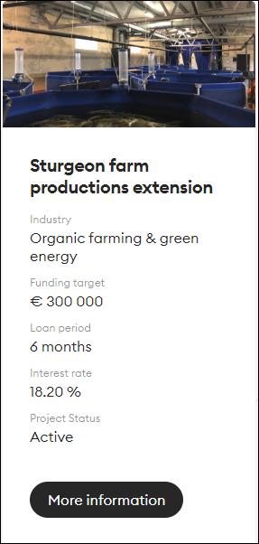 Proyecto Sturgeon farm productions extension (rent 18.20% por 6 meses) 1495