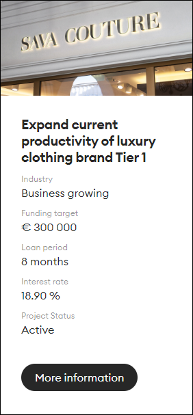 Proyecto Expand current productivity of luxury clothing brand Tier 1 (Rent. 18.90% por 8 meses) 1496