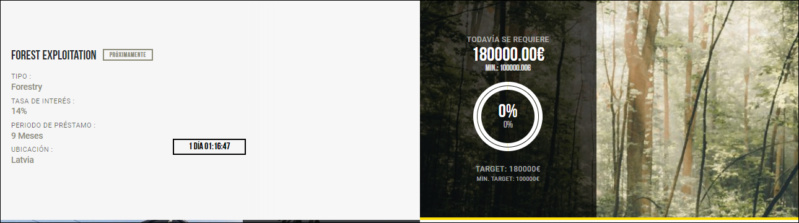 Proyecto Forest Explotation ( Rent 14% a 9 meses) aprovecha +1% cashback y la TIR al 16.48% 1539