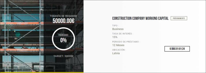 Proyecto Construction company working capital ( Rent 15% por 12 meses) Proyecto cerrado100% con 3 semanas retraso. 1556