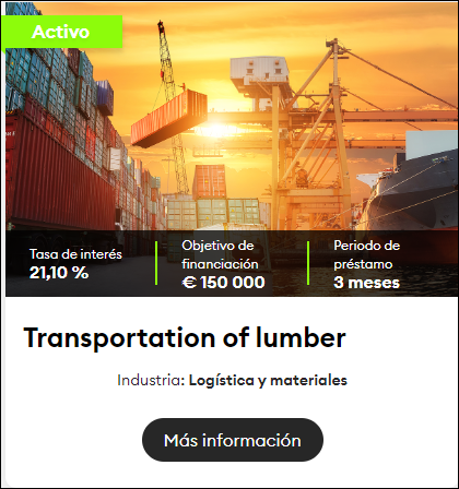 Proyecto Transportation of lumber ( Rent. 21.10 % solo a 3 meses) 1559