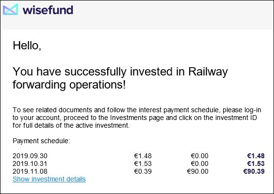 Proyecto Railway forwarding operation ( Rent. 19.70% a 6 meses)Proyecto CERRADO y pagado ok. 1598