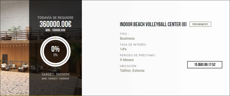 Proyecto Indoor beach volleyball center II ( Rent. 14.% durante 9 meses) 1634