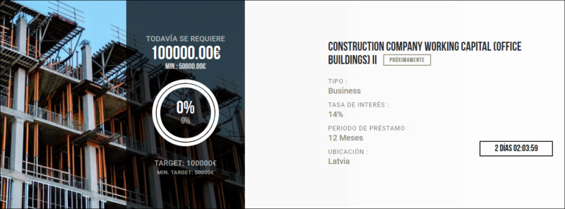 Proyecto Construction Company Woriking Capital ( office buildings) II  (rent. 14% por 12 meses) 1644