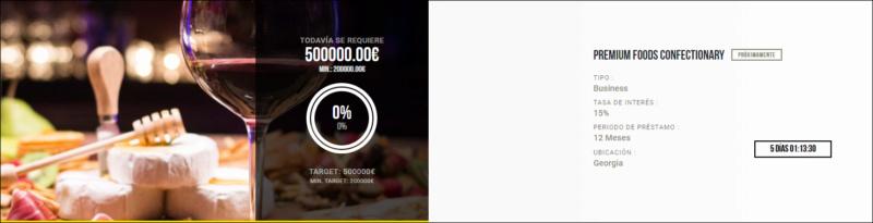 Proyecto PREMIUM FOODS CONFECTIONARY ( Rent. 15% por 12 meses) 1741