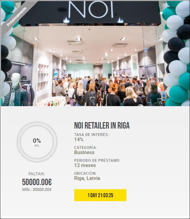 Proyecto NOI retailer in Riga ( Rent,14% a 12 meses) 1801