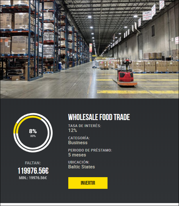 Proyecto Wholesale food trade ( Rent. 12% a 5 meses)  1807