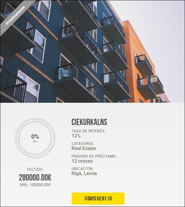 Proyecto Ciekurkalns ( Rent. 12% durante 12 meses)  1810