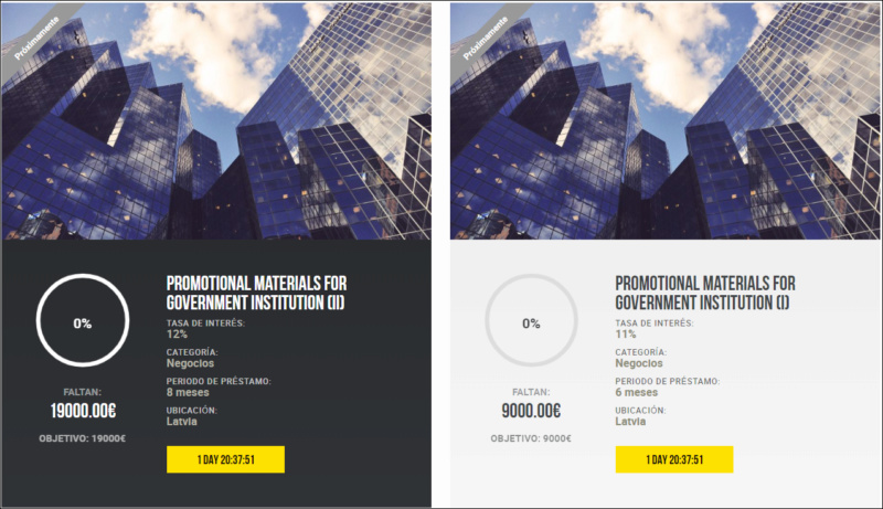 Proyectos Promotional materials for government institution (I) y (II) Rent.11%y12% entre 6-8 meses 1820