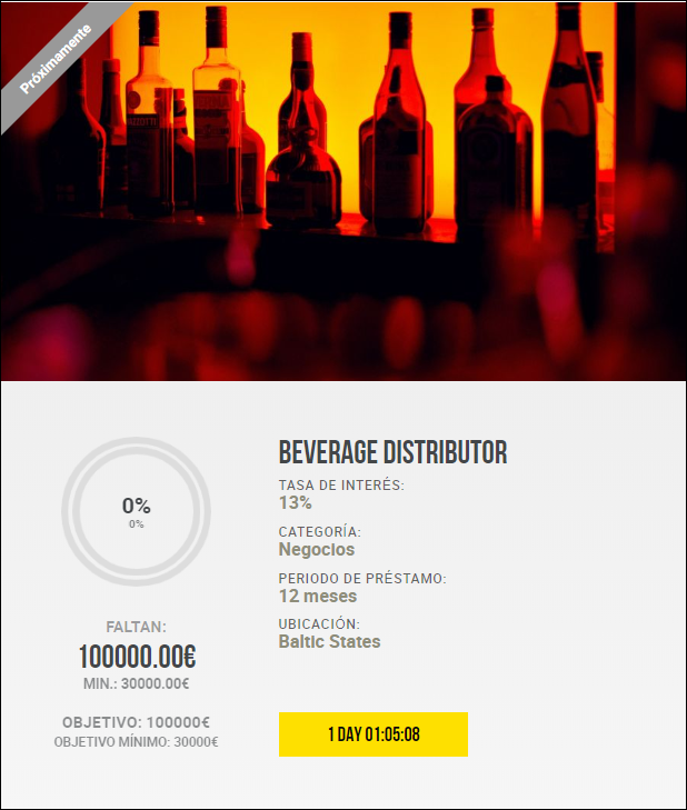 Proyecto Beverage distributor ( Rent. 13% durante 12 meses) 1822