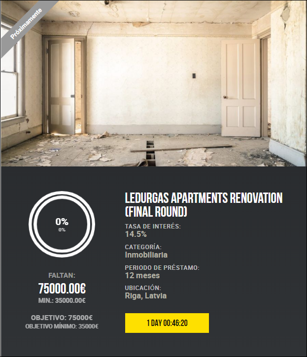 Proyecto Ledurgas apartments renovation (Final round) ( Rne, 14.50% a 12 meses) 1823
