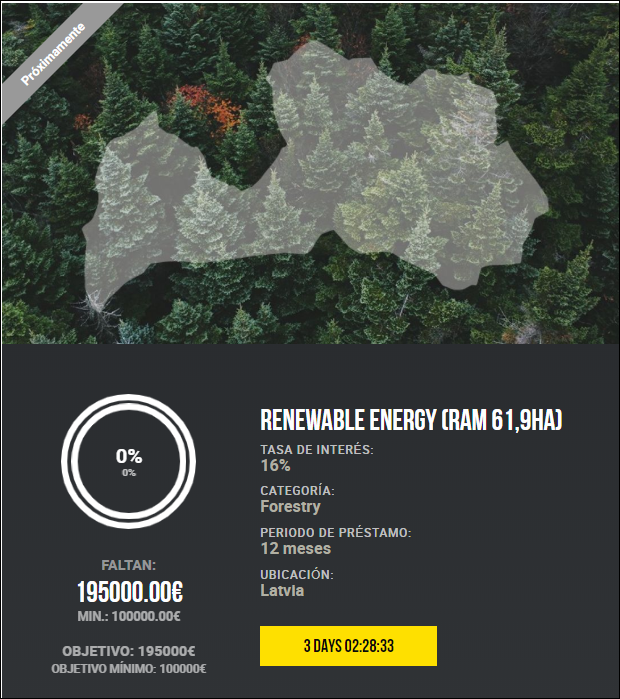 Proyecto Renewable energy (RAM 61,9ha) (Rent 16% durante 12 meses) 1835