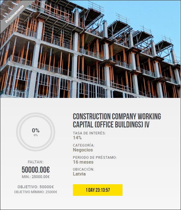 Construction company working capital (office buildings) III y IV ( Rent.14% por 16 y 18 meses)		 1839