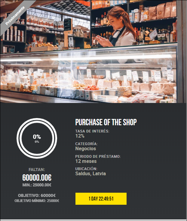 2 Proyectos Purchase of the shop /Shopping mall equipment ( Ren.12%a 12 meses) 1840