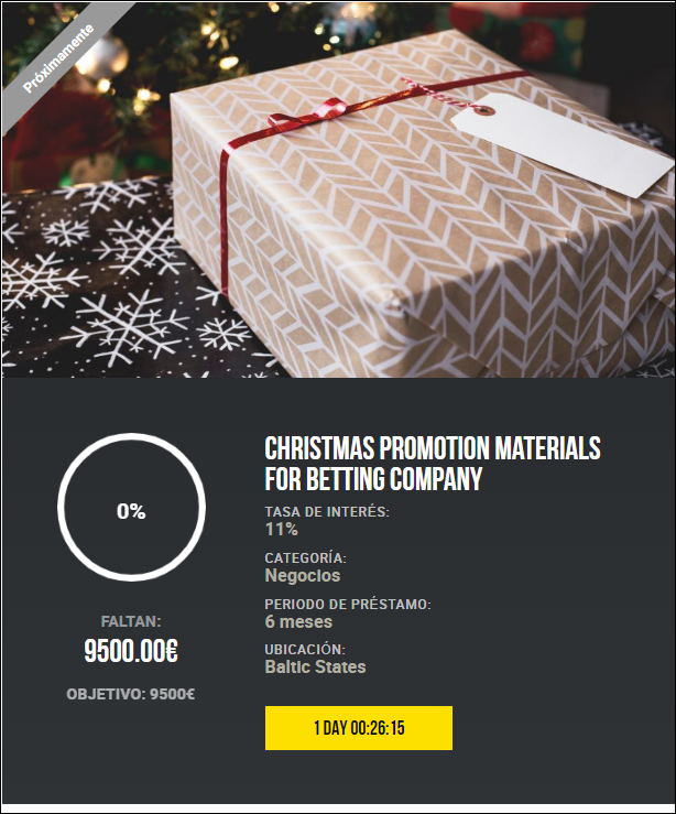 Proyecto Christmas promotion materials for betting company ( Rent. 11% por 6 meses)  1841