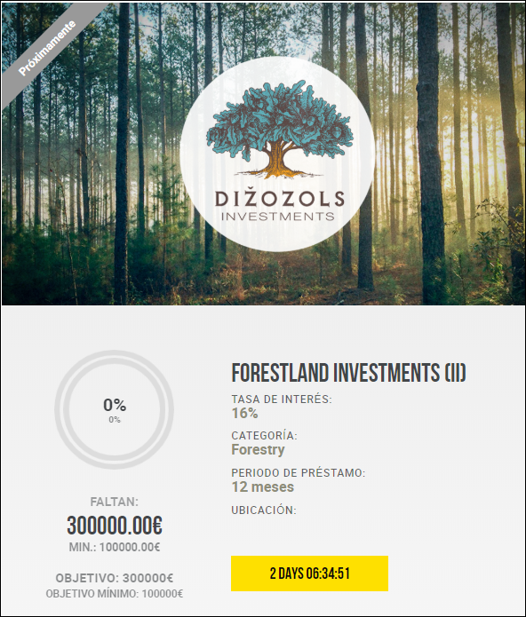 Proyecto Forestland investments (II) Rent. 16% a 12 meses 1848