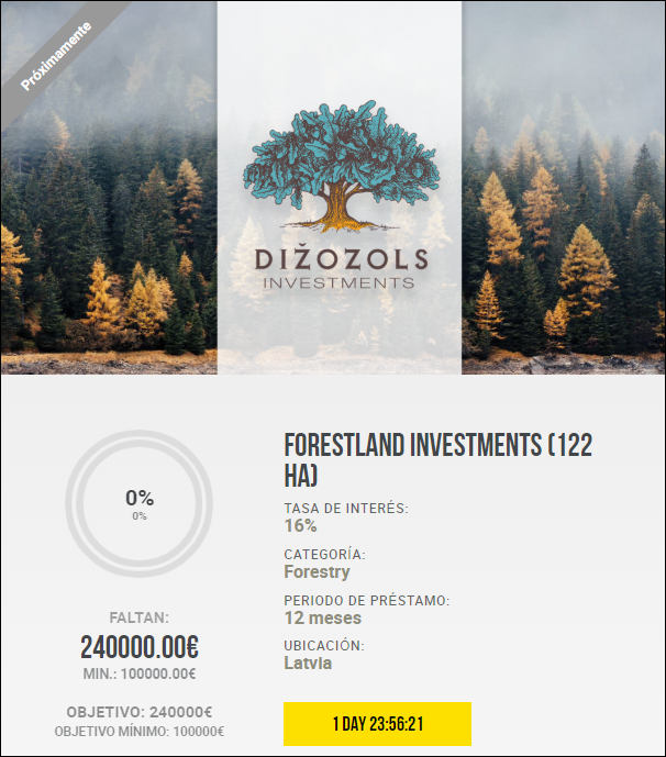 Proyecto Forestland investments (122 ha) ( Rent. 16% durante 12 meses) 1856