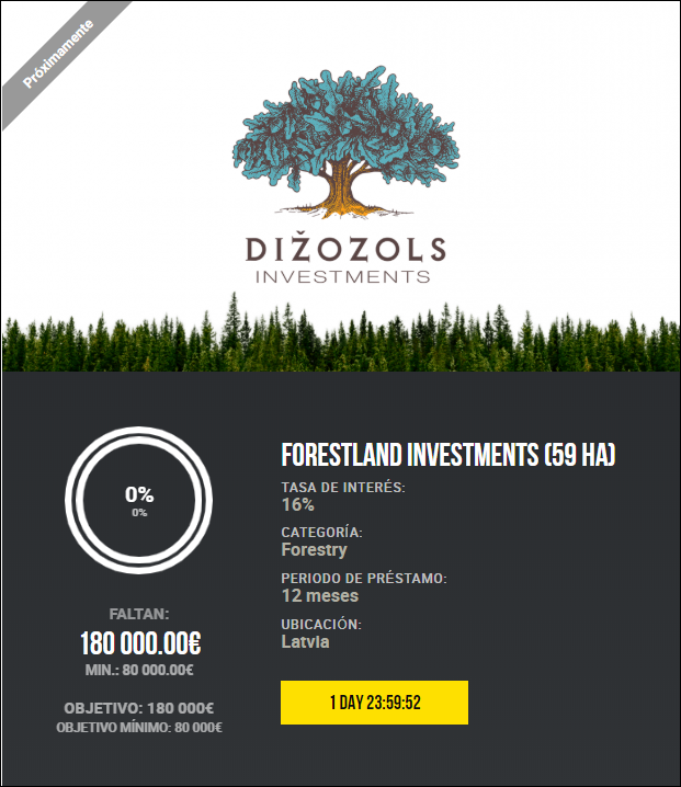 Proyecto Forestland investments (59 ha) Rent. 16% durante 12 meses 1864