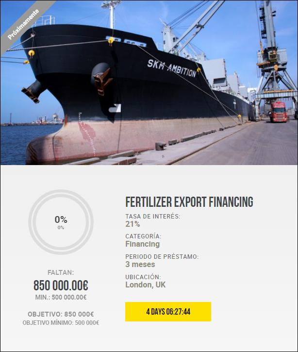 Proyecto Fertilizer Export Financing ( Rent. 21% solo 3 meses) 1886